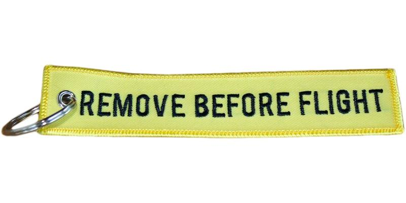 Yellow Remove Before Flight Keyring
